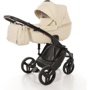 Детская коляска 2 в 1 Junama ENZO JME-02 (беж.кожа/чёрая рама) цена и фото