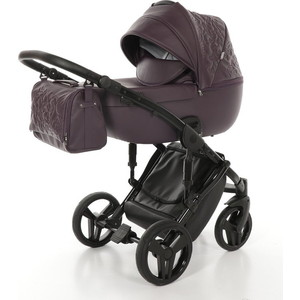 Детская коляска 2 в 1 Junama ENZO JME-03 (фиолет.кожа/чёрая рама) цена и фото