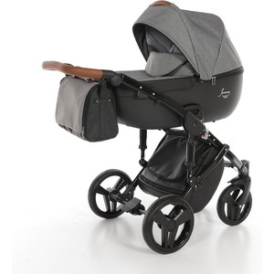 Детская коляска 2 в 1 Junama MADENA JM-03 (черный/серый лен) детская коляска 2 в 1 junama diamond jd 06 бордовый черный короб
