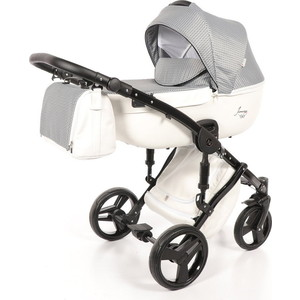 Детская коляска 2 в 1 Junama MADENA JM-05 (белый/черно-белые пиксели) цена и фото