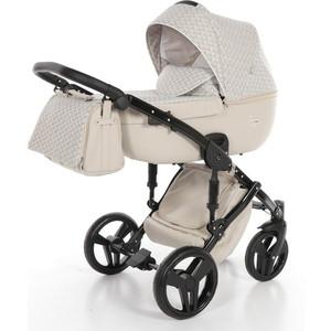 Детская коляска 2 в 1 Junama MADENA JM-06 (кремовый/светло-серые ромбы) цена и фото