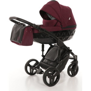 Детская коляска 2 в 1 Junama DIAMOND JD-06 (бордовый/черный короб)