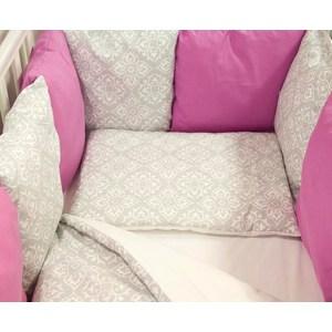 Комплект в кроватку By Twinz с бортиками-подушками 6 пр. Дамаск (малина)