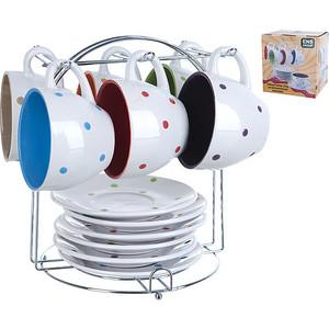 Чайный набор 12 предметов на металлической подставке ENS Group Веселый горошек (540101)
