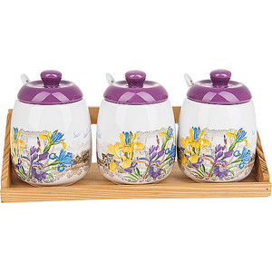 Набор банок для сыпучих продуктов 3 штуки Nouvelle Ирис (660015) набор банок для сыпучих продуктов nouvelle сад 4 предмета