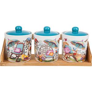 Набор банок для сыпучих продуктов 3 штуки Nouvelle Сад (660057) набор банок для сыпучих продуктов nouvelle сад 4 предмета