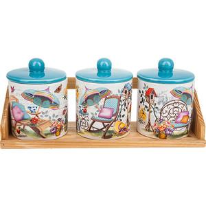 Набор банок для сыпучих продуктов 3 штуки Nouvelle Сад (660061) набор банок для сыпучих продуктов nouvelle сад 4 предмета