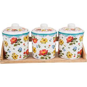 Набор банок для сыпучих продуктов 3 штуки Nouvelle Цветочная поэма (660108) набор банок для сыпучих продуктов nouvelle сад 4 предмета