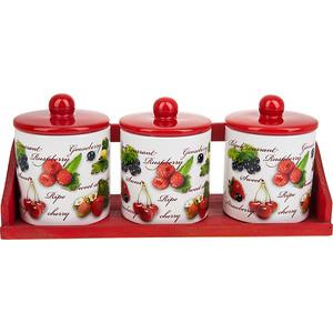 Набор банок для сыпучих продуктов 3 штуки Polystar Collection Садовая ягода (L2520283) polystar тарелка этажерка садовая ягода 18х24 см