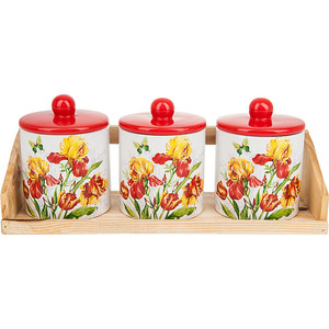 Набор банок для сыпучих продуктов 3 штуки Polystar Collection Касатик (L2520668) банка для сыпучих продуктов polystar касатик 600 мл