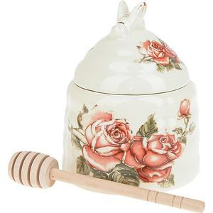 Банка для меда с ложкой Best Home Porcelain Рубиновые розы (M1270624) best home porcelain салфетница рубиновые розы 4х8х13 см