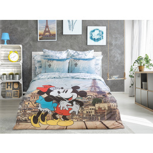 Комплект постельного белья Love me Евро, перкаль, Mickey in Paris в прозрачной сумке (711096) meet me in scotland
