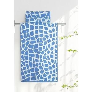 Полотенце Aquarelle Мадагаскар жираф, белый - спокойный синий 70х140 (713178) полотенце aquarelle бостон 1 цвет белый маренго 70 х 140 см
