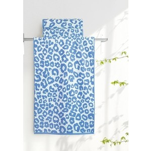 Полотенце Aquarelle Мадагаскар леопар, белый - спокойный синий 70х140 (713181) полотенце aquarelle бостон 1 цвет белый маренго 70 х 140 см
