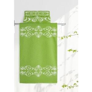 Полотенце Aquarelle Шарлиз, белый-травяной 70x140 (705995) полотенце aquarelle бостон 1 цвет белый маренго 70 х 140 см