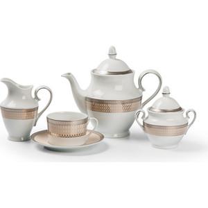 Сервиз чайный 15 предметов La Rose des Sables Tanite Victoire Platine (659512 1489) tanite victoir platineatine 1489 блюдо овальное 35 см цвет белый с платиной