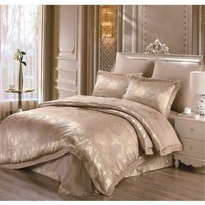 Комплект постельного белья Do and Co Евро, сатин жаккард, Sal коричневый (9454коричневый)