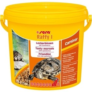 Корм SERA RAFFY I Carnivor Tasty Morsels with Gammarus for Turtles лакомые кусочки с гаммарусом для плотоядных водных черепах 3л (370г)