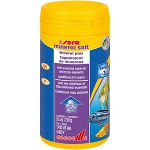 Препарат SERA MINERAL SALT Mineral Plus обогащения воды минералами для аквариума 250мл (280г) автоматическая кормушка sera feed a plus