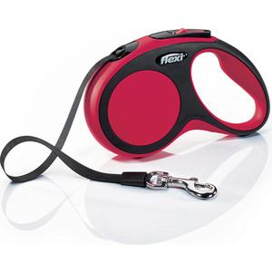 Рулетка Flexi New Comfort S лента 5 м черная/красная для собак до 15кг