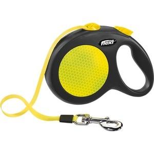 Рулетка Flexi New Neon L лента 5м черная/желтая для собак до 50кг jenni new pink solid ruffled chemise l $39 5 dbfl