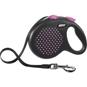 Рулетка Flexi Design L лента 5м черная/розовый горох для собак до 50кг поводки triol поводок рулетка размер l 5м до 50кг лента