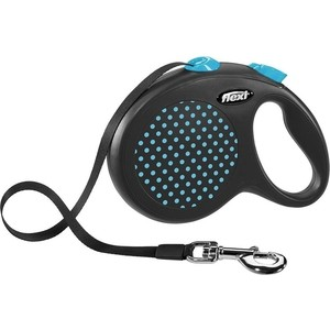 Рулетка Flexi Design L лента 5м черная/голубой горох для собак до 50кг flexi design s до 15кг 5м лента черная голубой горошек