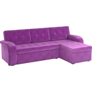 Угловой диван АртМебель Классик микровельвет фиолетовый правый угол угловой диван артмебель юта 12 правый