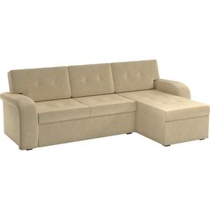 Угловой диван АртМебель Классик микровельвет коричнево/бежевый правый угол угловой диван артмебель юта 12 правый