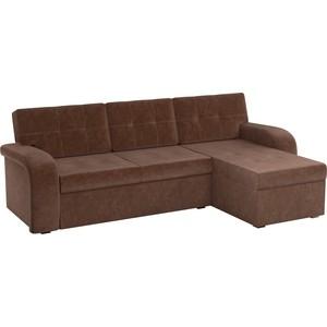 Угловой диван АртМебель Классик микровельвет коричневый правый угол диван кровать смк дюссельдорф 147 б 2д у1пф правый угол 434 серо коричневый