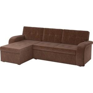 Угловой диван АртМебель Классик микровельвет коричневый левый угол диван артмебель еврокнижка классик микровельвет коричневый