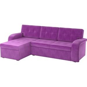 Угловой диван АртМебель Классик микровельвет черно/фиолетовый левый угол