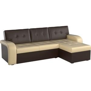 Угловой диван АртМебель Классик эко-кожа бежево/коричневый правый угол диван кровать смк дюссельдорф 147 б 2д у1пф правый угол 352 alba ash