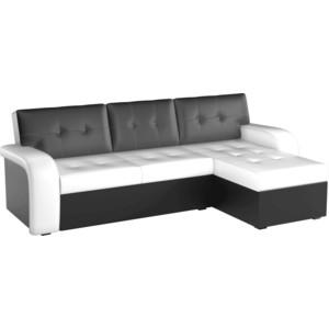 Угловой диван АртМебель Классик эко-кожа бело/черный правый угол цены