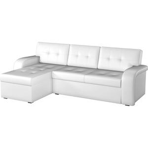 Угловой диван АртМебель Классик эко-кожа белый левый угол угловой диван артмебель андора ткань правый