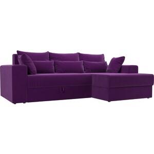 Угловой диван АртМебель Медисон микровельвет фиолетовый правый угол угловой диван артмебель медисон микровельвет черный левый угол
