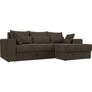 Угловой диван АртМебель Медисон рогожка коричневый правый угол диван угловой артмебель орион правый коричневый