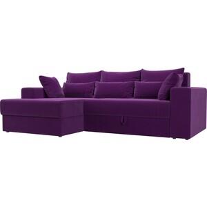 Угловой диван АртМебель Медисон микровельвет фиолетовый левый угол угловой диван артмебель андора ткань левый