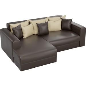 Угловой диван АртМебель Медисон эко-кожа коричневый левый угол угловой диван артмебель андора ткань правый