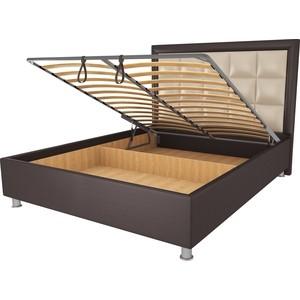 Кровать OrthoSleep Альба шоколад-бисквит механизм и ящик 140х200