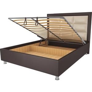 Кровать OrthoSleep Виктория шоколад-бисквит механизм и ящик 140х200