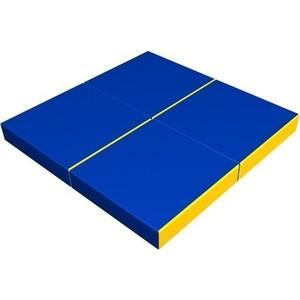 Мат КМС № 11 (100 х 100 х 10) складной (4 сложения) сине- жёлтый 2635 мат кмс номер 4 100 х 150 х 10 складной сине жёлтый