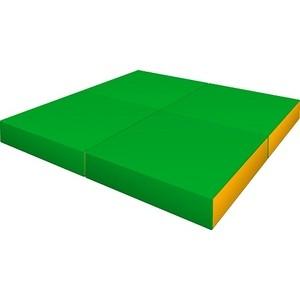 Мат КМС № 11 (100 х 100 х 10) складной (4 сложения) зелёно- жёлтый 2633 мат кмс номер 4 100 х 150 х 10 складной сине жёлтый