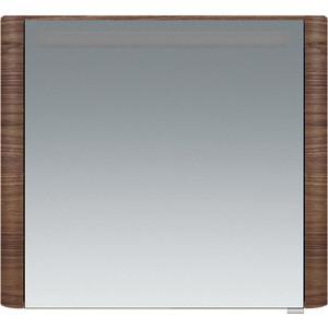 все цены на Зеркальный шкаф Am.Pm Sensation левый 80 см, с подсветкой, орех, текстурированный (M30MCL0801NF) онлайн