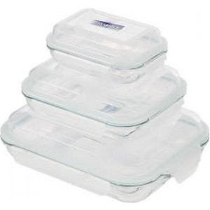 Набор прямоугольных контейнеров 3 штуки Glasslock (GL-507) набор прямоугольных контейнеров для еды 2штуки glasslock gl 1045