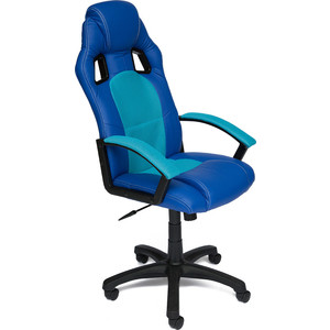 Кресло TetChair DRIVER кож/зам/ткань, синий/бирюзовый, 36-39/23