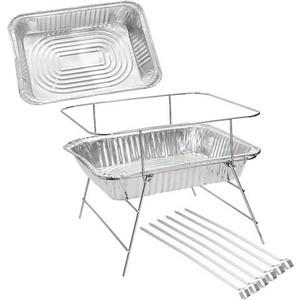 Мангал Forester со сменными лотками для угля: рамка 2 алюминиевых сменных особопрочных лотка для угля 6 шампуров BQ-L3 кожух 6 алюминиевых декоративных кожухов с логотипом inotec p6 b2