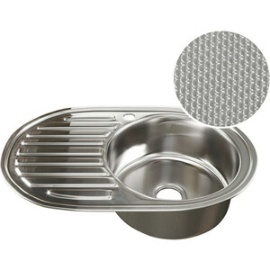 Кухонная мойка Mixline 50х77 0,8 правая, выпуск 3 1/2 ДЕКОР (4620031446149)