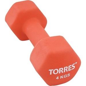 Гантель Torres 4 кг - 1 шт (PL55014) в неопреновой оболочке красный гантель в виниловой оболочке 1 кг profi fit форма шестигранник зеленый
