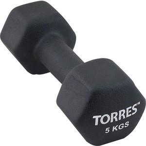 Гантель Torres 5 кг - 1 шт (PL55015) в неопреновой оболочке черный гантель в виниловой оболочке 1 кг profi fit форма шестигранник зеленый